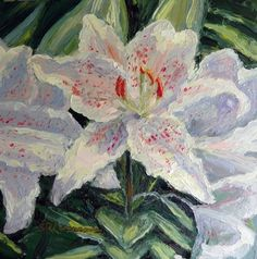 """""""The White Lily"""" 6x6 oil on copper.  350$ Framed in gold and shipped!  www.ReneeLammers.com"""