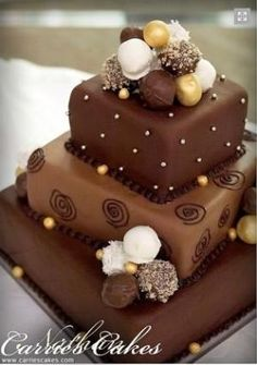 2 tier chocolate birthday cake - Google Search by Columbine