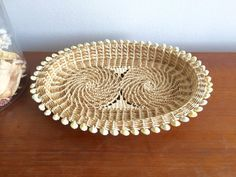 Nautical Seashell Basket Tray / South Pacific Micronesia Woven Cowrie Shell Dish / Woven Rattan Wicker Serving Platter / Beach Home Decor This is a