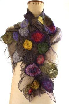 Nuno felted Kalamatta Tissue Silk fabric using Silk Hankies (Citron, Lavish, Jamberry, Silver Priness, Shanti, Silver Fox). Nuance wool Celery and Black Currant, plus solid wool Kalamatta.