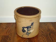 6 Quart Crock Cobalt Bird Antique Vintage by TheCrockery1 on Etsy