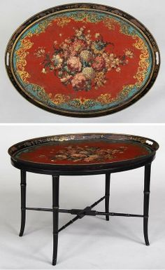 Victorian painted tole tray with floral decoration on later stand,