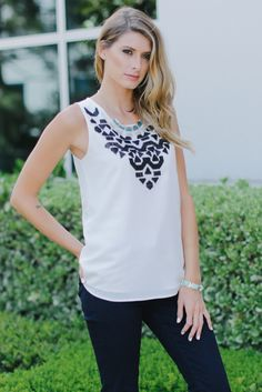 White-Tribal-Neckline-Tank-Top #outfit #outfitinspiration