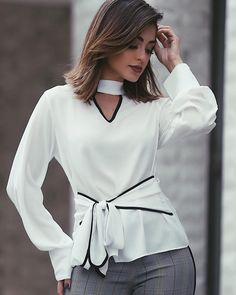 Lovely white blouse with grey pants Work Fashion, Hijab Fashion, Fashion Outfits, Womens Fashion, Blouse Styles, Blouse Designs, Western Outfits, Indian Designer Wear, Blouses For Women