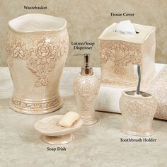 Bianca Ceramic Floral Bath Accessories J Queen New York in size 2000 X 2000 Floral Bathroom Sets - Vanity lamps supply appearance of elegance and type to White Bathroom Decor, Bath Decor, Bathroom Sets, Yardley Soap, Silver Shower Curtain, Shower Curtains, Powder Room Decor, Floral Bath, Walk In Shower Designs