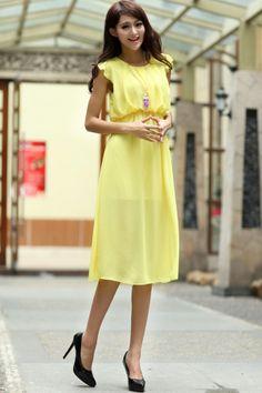 Flounce Sleeve Chiffon Dress - OASAP.com