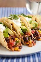 Quinoa, Black Bean and Corn Tacos from Cooking Classy + Tips on how to vegan-ize