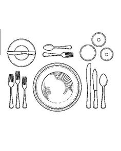 How to Set a Formal Dinner Table: Setting the Table for Soup: Soup is served in a heated soup dish, atop a dinner plate, and eaten with the soup spoon, at outer right. When every guest has finished and laid his spoon, bowl up, across the upper right hand corner of the plate, the plate, bowl, and spoon will be removed. The bread-and-butter plate and butter knife remain.