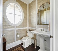 grasscloth great idea for extra bathroom the cloth adds texture and the moldings add depth