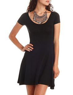 Cross-Back Scoop Neck Skater Dress | Charlotte Russe, $19.99 - for a saucy little black dress