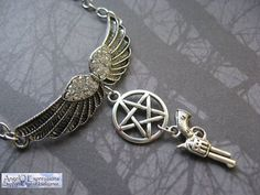 Supernatural Hunter Necklace with Outstretched Angel Wings, the Devil's Trap, and the Demon Colt