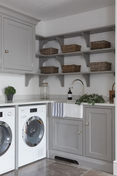 The Spenlow laundry room at the Epping Forest project has a double butler sink with the Ionian tap with rinse by Perrin & Rowe and Miele… Boot Room Utility, Small Utility Room, Utility Room Storage, Utility Room Designs, Utility Room Ideas, Utility Shelves, Laundry Room Layouts, Laundry Room Remodel, Laundry Room Design