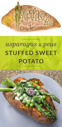 Asparagus Stuffed Sweet Potato With Lemon Dill Sauce