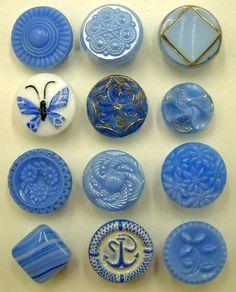 Vintage Blue Glass Buttons
