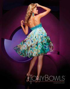 Tony Bowls prom dress 11150 - Short strapless formal dresses   Promgirl.net