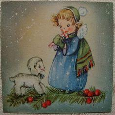 Little Angel Warming w Lamb 40's Vintage Gibson Christmas Greeting Card   eBay