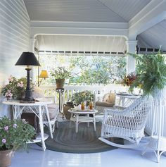 New England nesting views part the charm and old fashioned American style of the Charlotte Inn and the town of Edgartown on Martha's Vineyard Outdoor Rooms, Outdoor Living, Outdoor Decor, Southern Porches, Country Porches, Cottage Porch, Porch Veranda, Summer Porch, Porch Furniture