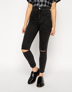 Enlarge ASOS Rivington High Waist Denim Ankle Grazer Jeggings in Washed Black With Ripped Knees