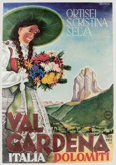 1950 Val Gardena, Dolomiti Mountains, Italy vintage travel poster