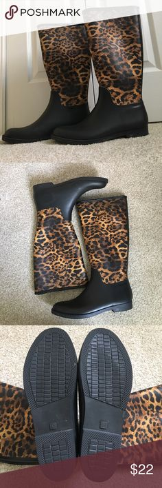Cheetah/leopard print rain boots. MAKE AN OFFER! Very fashionable and in great condition. Worn once. Match anything and they are really comfy. Shoes Winter & Rain Boots