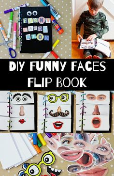 DIY Flip book with funny faces. Kids get a huge kick out of making funny faces in the mirror and going through a range of expressions on command. Asking my kids to look confused, sleepy or bored will inevitably lead us all to fits of laughter and them begging me to give them another emotion to try out. #Kids #Crafts