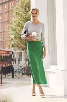Long and classy: green midi skirt...spring fashion