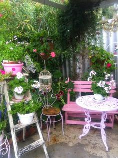 Olivia's Romantic Home: Kim's Shabby Chic Pink Palace Home Tour http://www.uk-rattanfurniture.com/product/miadomodo-4pcs-garden-rattan-furniture-table-and-sofa-seat-set-with-cushions-brown/