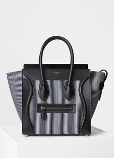 d9ab9b02faf3 MICRO LUGGAGE HANDBAG IN NAVY AND WHITE STRIPED TEXTILE 26 X 26 X 14 CM (