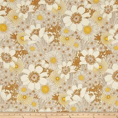 Kaufman Laurel Canyon Floral Vintage from @fabricdotcom  From Studio RK for Robert Kaufman, this cotton print fabric features tonal flowers in brown hues for a slightly retro feel. Perfect for quilting, apparel and home decor accents. Colors include cream, mustard and shades of brown.