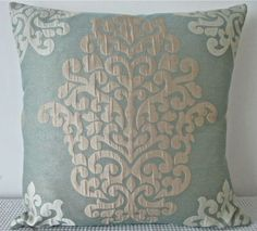 Damask Duck egg blue champagne and off white by miaandstitch, $39.95