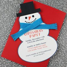 Snowman Christmas Party Invite- I like the depth the fabric scarf could add, would be super simple