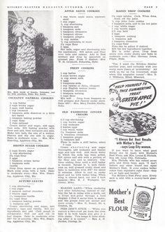 Kitchen Klatter, October 1940 - Cocoanut Oatmeal Cookies, Brown Sugar Cookies, Autumn Leaves, Apple Sauce Cookies, Fruit Cookies, Old Fashioned Ginger Creams, Raisin Drop Cookies Old Recipes, Drink Recipes, Retro Recipes, Vintage Recipes, Cookbook Recipes, Cookie Recipes, Dessert Recipes, Breakfast Recipes, Brown Sugar Cookies