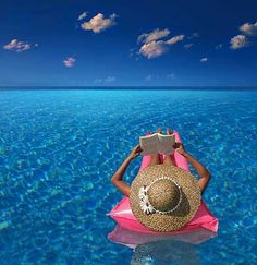 Doing this - floating in water while reading or napping. I just know I would fall asleep & drop the book in the water, but I LOVE the serenity of this pic. Wish I was there right now.