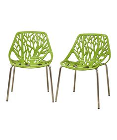 Look at this Green Birch Sapling Modern Dining Chair - Set of Two on #zulily today!
