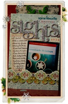 Love this pretty page with the sparkly letters and layering
