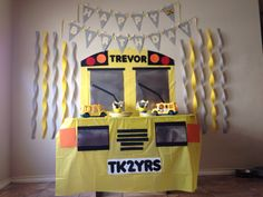 Trevor's 2nd birthday!!! Wheels on the bus themed party TK2YRS school bus                                                                                                                                                     More