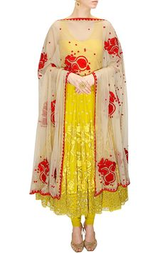 Mustard yellow and cream thread and sequins embroidered anarkali set available only at Pernia's Pop-Up Shop.