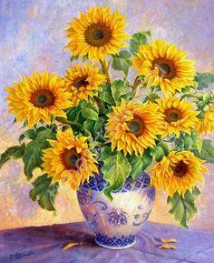 Подсолнухи в вазе, картина раскраска по номерам, размер 40*50см, цена 750 руб