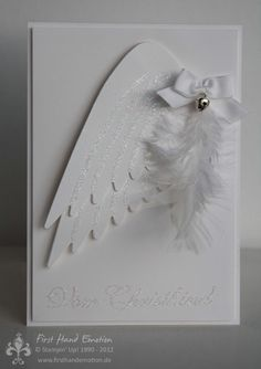 First Hand Emotion First Communion Cards, Baptism Cards, Diy Angel Wings, Diy Wings, Diy Cards, Holiday Cards, Christmas Cards, Wings Card, Feather Cards