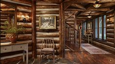Rustic and simple log home foyer .....Montana log home