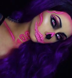 We love this neon pink skull look with purple hair and smokey eyes #brightside...x