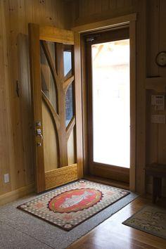 timber frame home custom door - not going to happen but if I win the lottery someday I will have this :) Wooden Main Door Design, Front Door Design, Door Design Interior, Cool Doors, Timber Frame Homes, Wooden Doors, Log Homes, Cabana, Planer