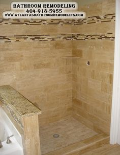 Suwanee Ga Shower Travertine Shower Remodel 404-918-5955