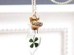 WISH Necklace Real Four Leaf Clover Jewelry Woman by RafFinesse