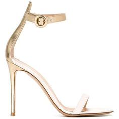 Gianvito Rossi Portofino Sandals ($651) ❤ liked on Polyvore featuring shoes, sandals, metallic, strappy stiletto sandals, ankle strap shoes, metallic sandals, leather sandals and metallic strappy sandals