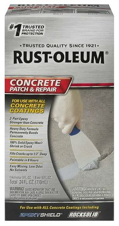 Rust-Oleum 301012 Concrete Patch and Repair, 24 Oz, Satin Finish - Ideas for the house - Welcome Haar Design Concrete Coatings, Concrete Driveways, Concrete Patio, Concrete Floors, Concrete Filler, Plywood Floors, Concrete Lamp, Stained Concrete, Concrete Countertops