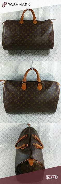 Authentic Louis Vuitton Speedy 40 Monogram Satchel Zipper pull rab was replaced. Leather abd handles showed signs of used. Canvas and inside linen are good. The bag was made in France with a,date code TH 0013. Ovet all the bag us in a good preoened condition. Louis Vuitton Bags Satchels