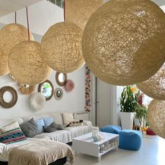 Globe pendant lights, new project! 💛💛💛 Plug In Chandelier, Plug In Pendant Light, Modern Pendant Light, Pendant Lamp, Pendant Lighting, Loft Lighting, Handmade Lamps, Light Beam, Nordic Style