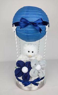 Navy Blue and Grey Hot Air Balloon Nappy Cake - Washcloth Flowers, Navy Blue, Nappy Cakes by Emma, Australia, Brisbane, Diaper Cake, Brisbane, Sydney, Melbourne, Australia