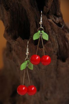 f1e7b1a79bb4c3 Red Cherry Earrings Berry Jewelry Exotic Unusual Earrings Mini Food  Jewellery Gift for Girl Summer Beach Earrings Outdoor Gift for Sister